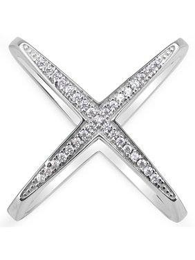 White CZ Sterling Silver Rhodium-Plated Double-Shank X Ring