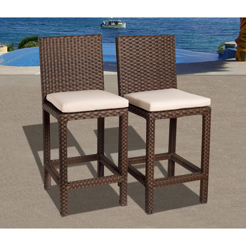 Monza 2-Piece Wicker Patio Barstool Set with Off-White Cushions