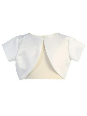 Lito Little Girls White Satin Special Occasion Bolero Shrug 4-5