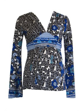 OLIAN Maternity Women's Abstract Print Long Sleeve Nursing Top X-Small Multi