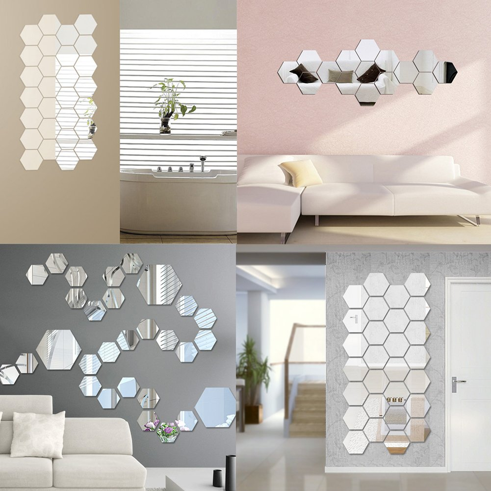 HN 12Pcs Mirror Hexagon Removable Acrylic Wall Stickers Art DIY Home Decals Che