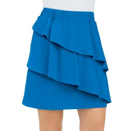 Skirt Skorts Uniform - Women's Tiered Asymmetric Knit Pull-On Skort Skirt with Elastic Waist, Medium, Royal Blue