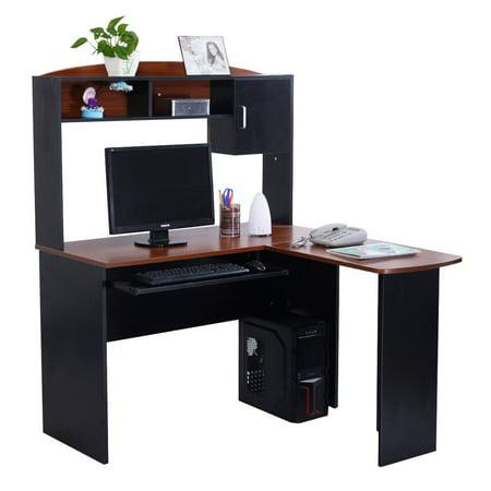 Kids Furniture Corner Desk - Gymax Home Office L-Shaped Corner Computer Desk