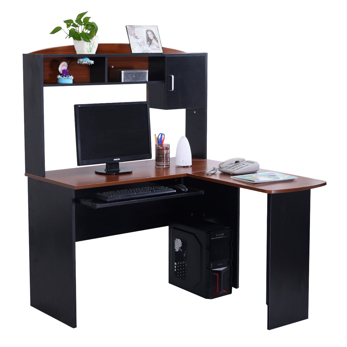 Gymax Home Office L-Shaped Corner Computer Desk
