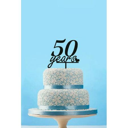 Tayyakoushi Classic 50 Years Birthday Cake Topper ,Vintage 50th Cake Topper Birthday Cake Toppers, Birthday Party Decoration Cake Topper (Black)