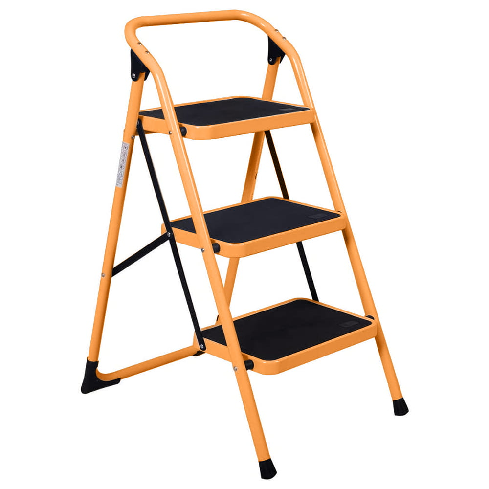 Step Ladder Portable Step Stool with Handgrip Anti-Slip and Wide Pedal Sturdy Steel Ladder Multi-Use for Home US Stock 300lbs Transser Two Step Steel White Garden and Office Shipping From CA.