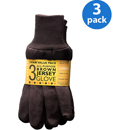 Hands On 3 Pair Value Pack, Poly/Cotton Blend Brown Jersey Glove