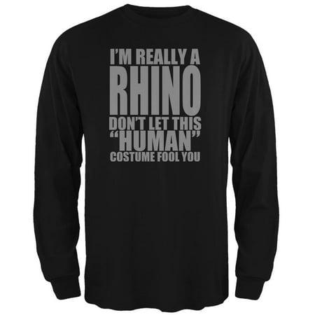 Halloween Human Rhino Costume Mens Long Sleeve T Shirt (Rhino Costume)