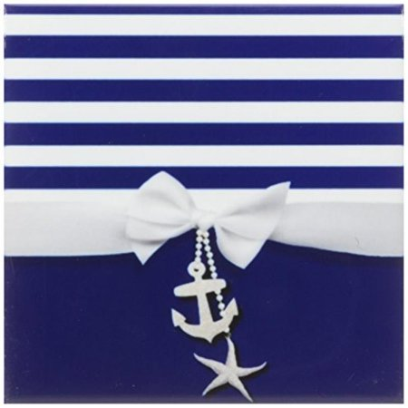 3dRose Nautical navy blue and white stripes - 2D ribbon bow graphic and printed anchor and starfish charms, Ceramic Tile Coasters, set of 4