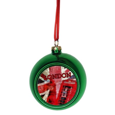 London Watercolor Grunge Art Bauble Christmas Ornaments Green Bauble Tree Decoration