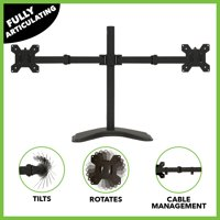 NavePoint Fully Adjustable Dual Monitor Mount Free Stand for 2 LCD LED screens up to 27 Inches