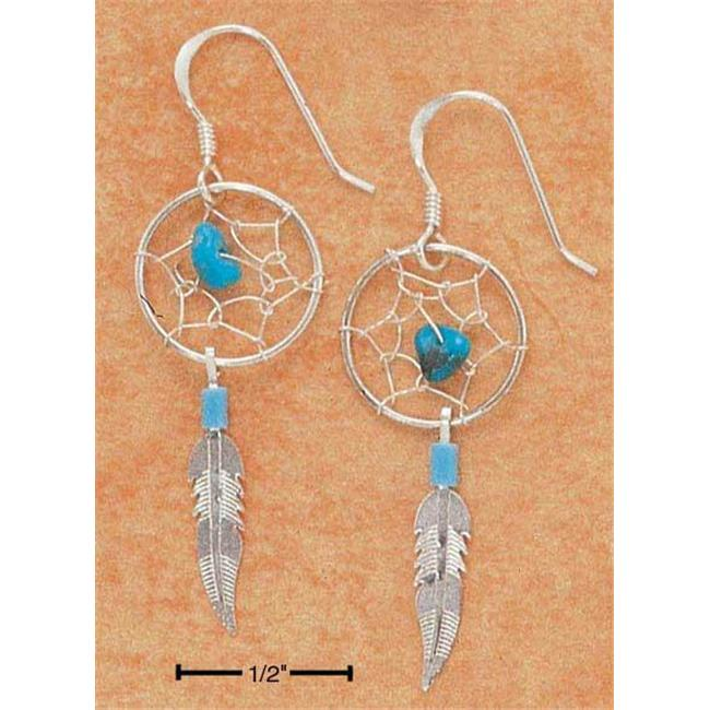 Sterling Silver Turquoise Dreamcatcher Earrings with Feather On French Wire S