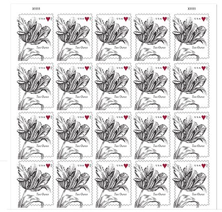 Vintage Tulip Sheet of 20 Two-Ounce Rate USPS Postage Stamps