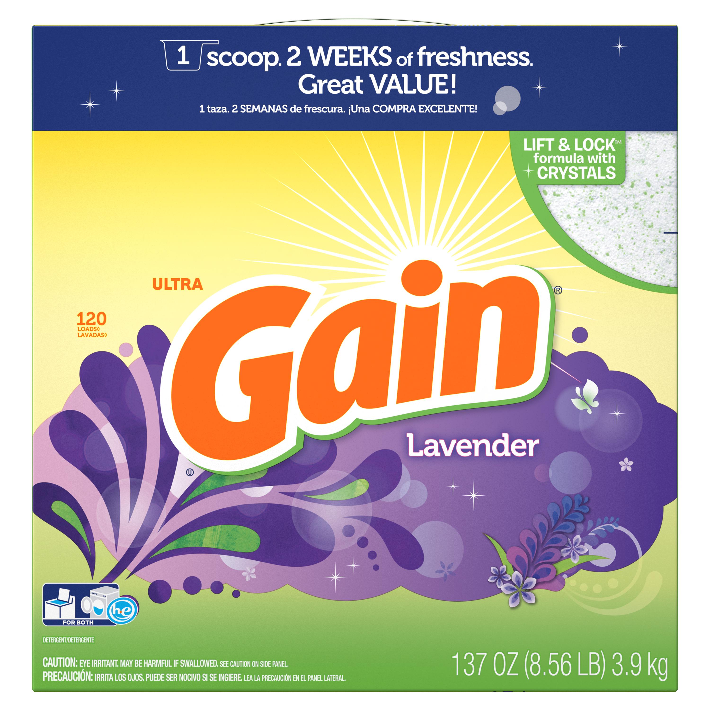 Gain Laundry Detergent Powder, Lavender, 120 Loads 137 oz