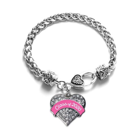 Pink Class of 2020 Pave Heart Charm Bracelet