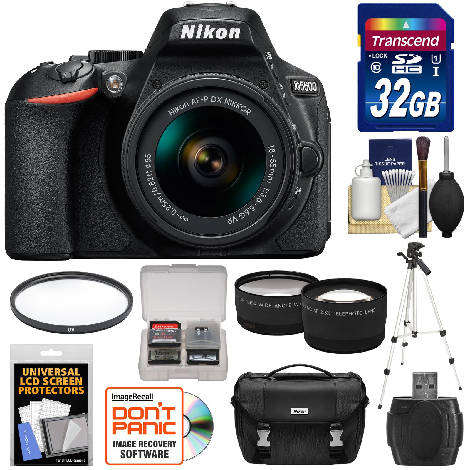 Nikon D5600 Digital SLR Camera & 18-55mm VR DX AF-P Lens - Refurbished with 32GB Card + Case + Filter + Tripod + Reader + Telephoto & Wide-Angle Lenses + Kit