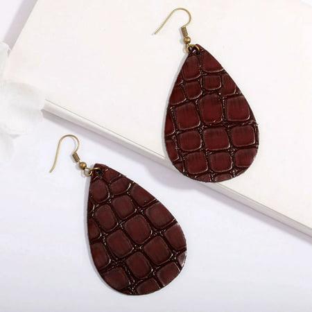 KABOER Bohemia Vintage Water Drop PU Leather Dangle Earrings Women Ladies Long Dangle Earrings Fashion Jewelry Party Gifts
