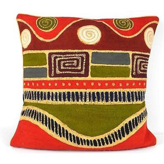 Tonga Textiles Handmade Geometric Wave Batik Cushion Cover