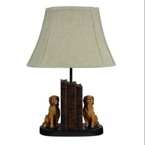 Set of 2 Sculpted Golden Retriever & Books Table Lamps with Cream Fabric Shades