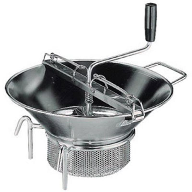 Paderno World Cuisine 8 quart stainless steel food mill with 1/8 inch sieve