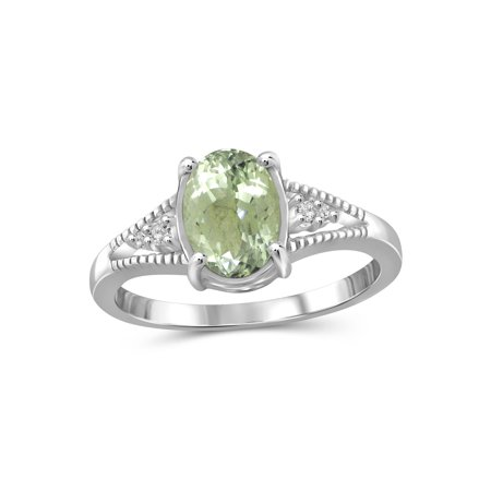 1.30 Carat Green Amethyst Gemstone and 1/20 Carat White Diamond Ring