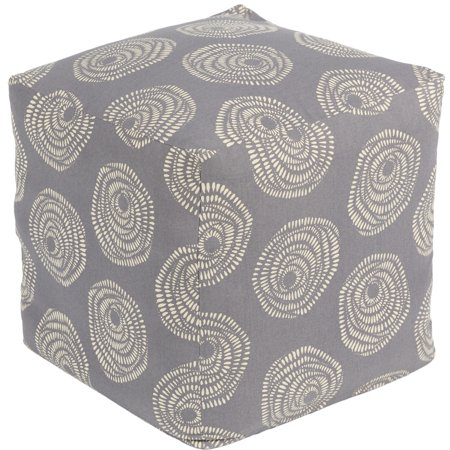 18 Quot Gray And Butter Geometric Patterned Cotton Square Pouf