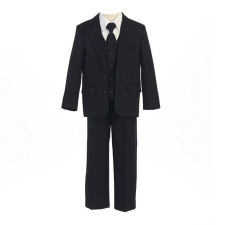 Sweet Kids Boys Black Button Jacket Vest Shirt Tie Pant Suit 8-20 Husky