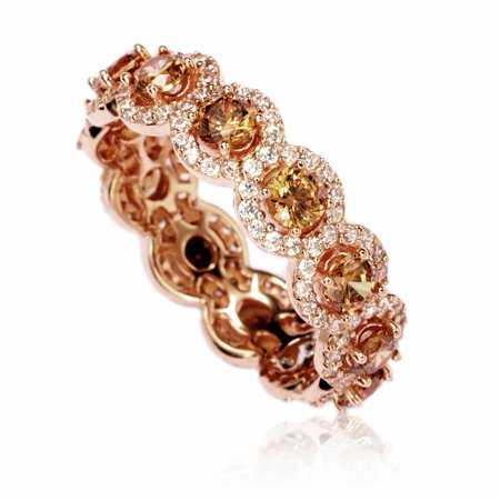 Rose Sterling Silver Cubic Zirconia Champagne Round Eternity Band