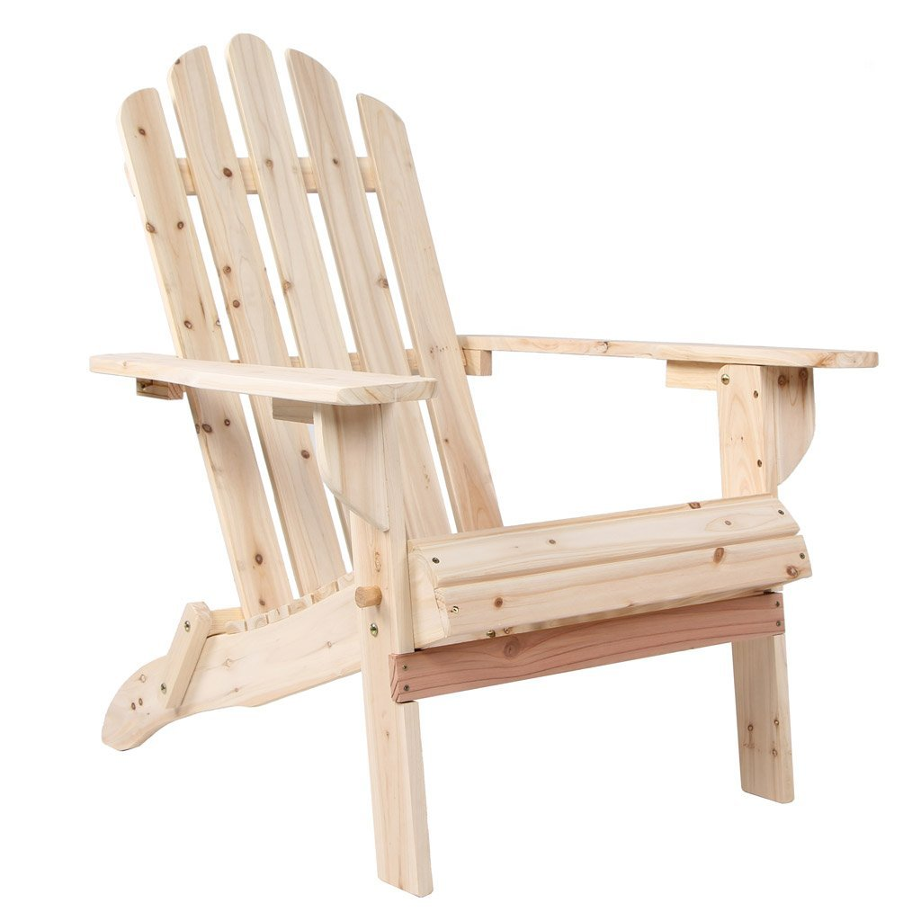 Adirondack Chair Made Of Original Wood With Big Space Between Armrests