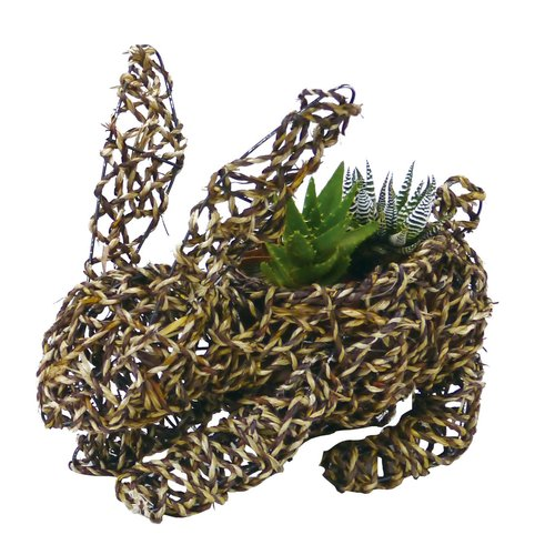 Gardener Select Large Bunny Rope Topiary 14'' Rattan Statue Planter