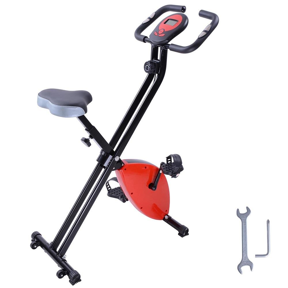 GHP 8-Step Resistance Adjustment 220.46Lbs Capacity Red Exercise Bike w LCD Computer