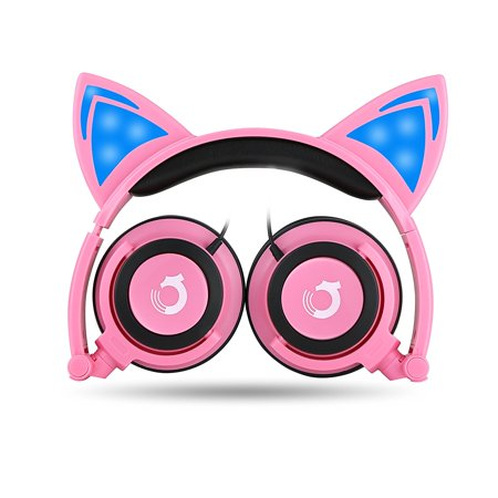 Dragon Touch Cat Ear Headphones Foldable Over-Ear Gaming Headsets Wired Earphone with LED Glowing Lights for PC Laptop Computer Tablet iPhone (Pink)