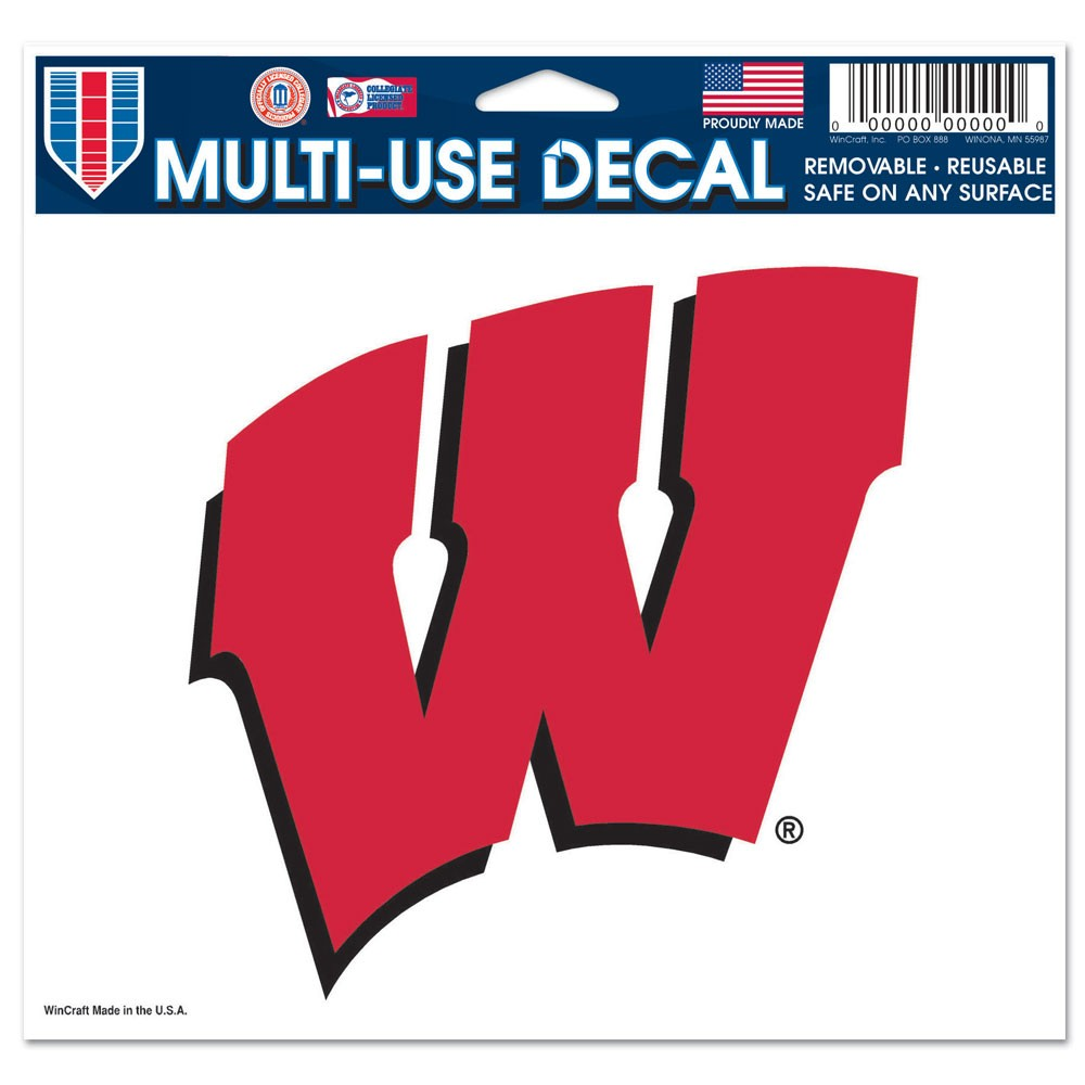 Wisconsin Badgers Official NCAA 4 inch x 6 inch Car Window Cling Decal by WinCraft