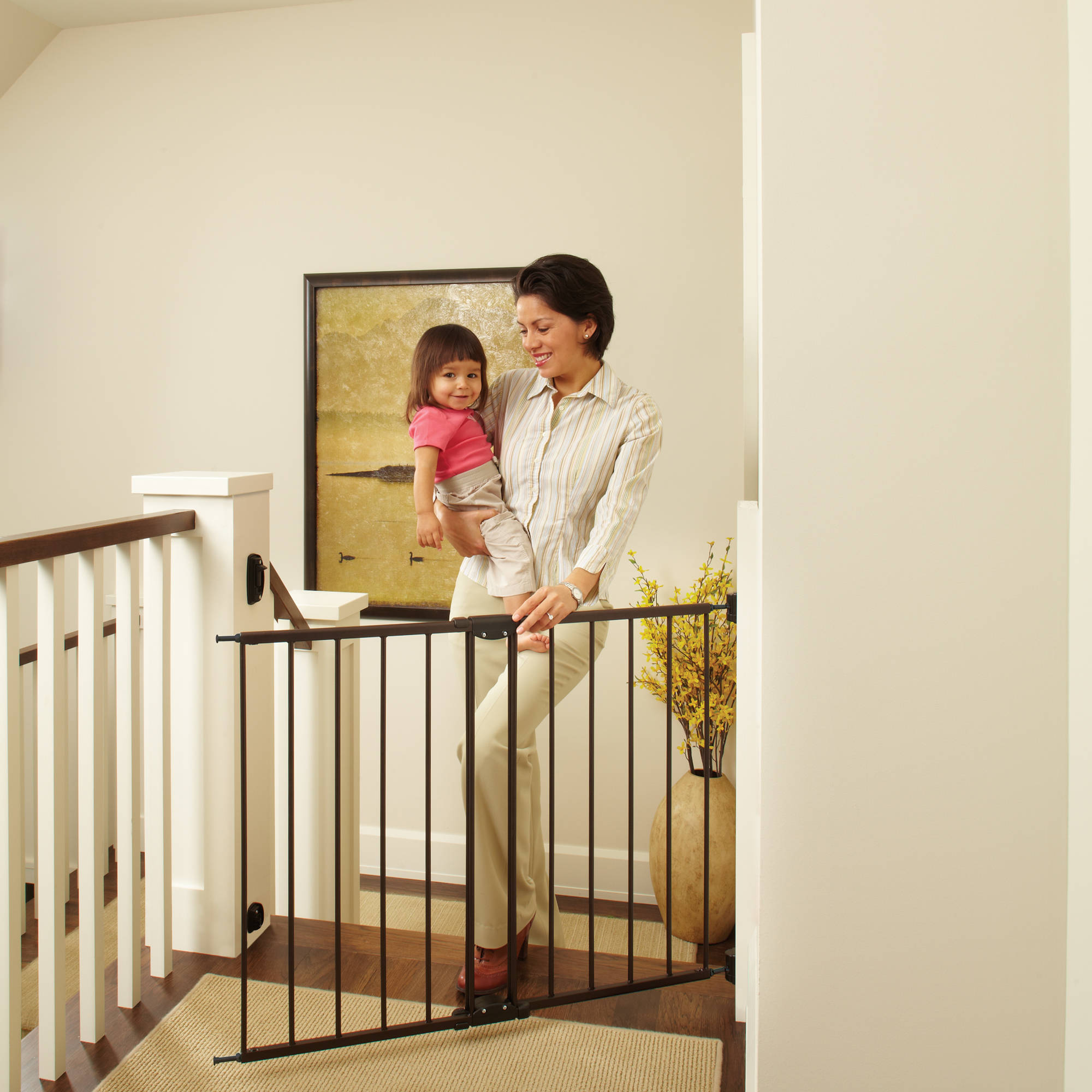 """North States Easy Swing and Lock Gate 28.68""""-47.85"""", Top of Stairs Baby Gate, Includes Mounting Kit, Matte Bronze"""