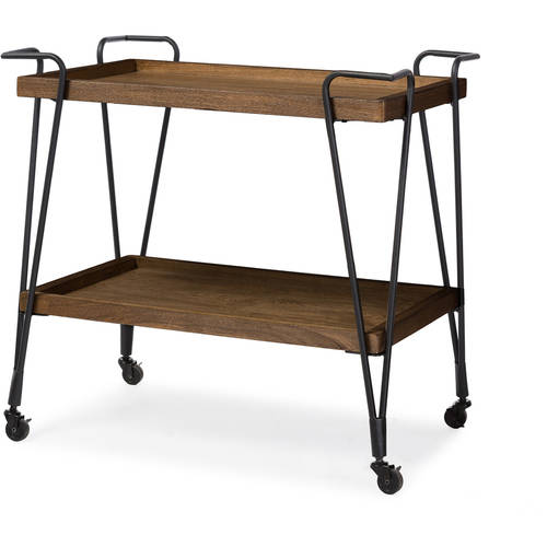 Baxton Studio Alera Rustic Industrial Style Antique Black Textured Finish Metal Distressed Ash Wood Mobile Serving Bar Cart