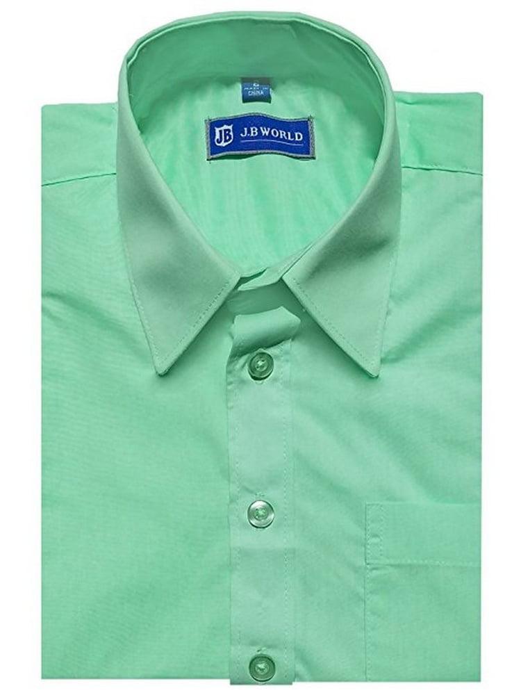 jb world boys mint long sleeve no button collar uniform dress shirt