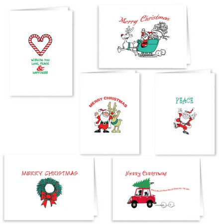 Christmas Card Collection Merry Christmas - 18 Holiday Cards & Envelopes - Boxed Christmas (Scene Boxed Christmas Cards)