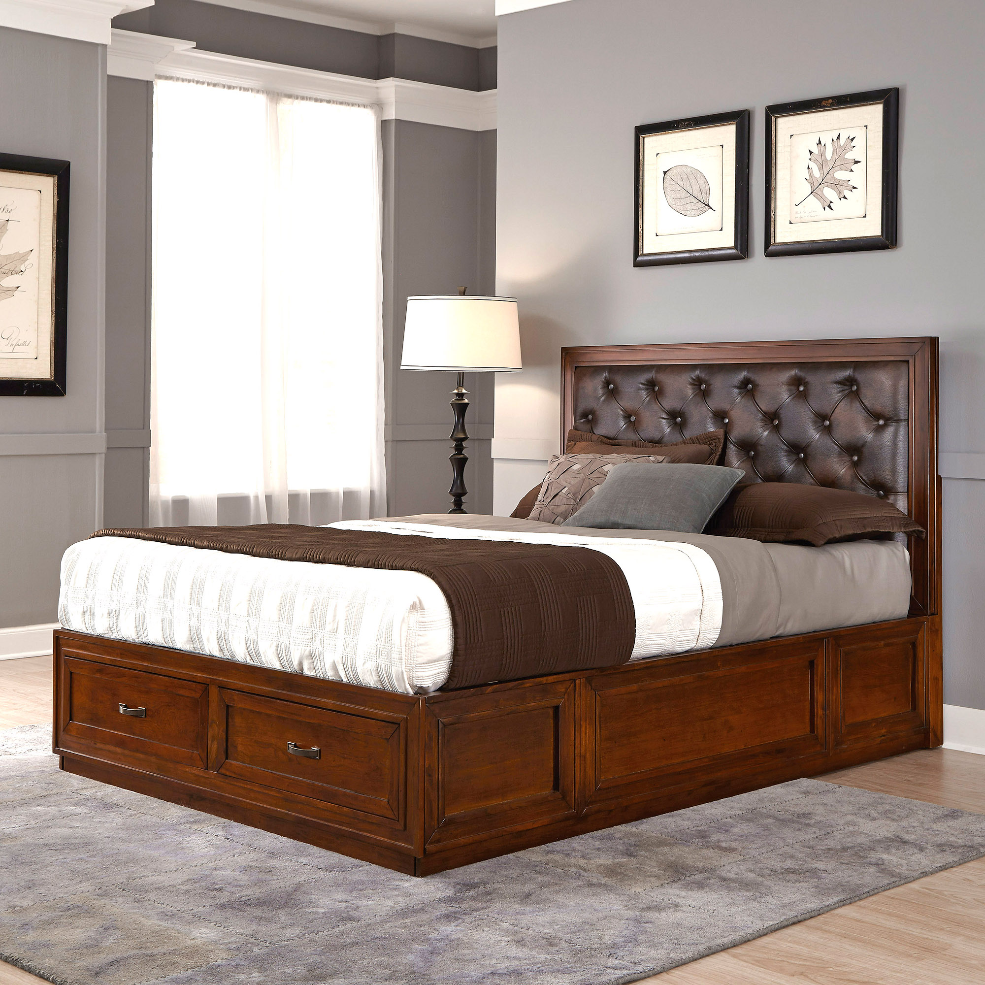 Duet Queen Tufted Diamond Panel Bed, Brown Leather