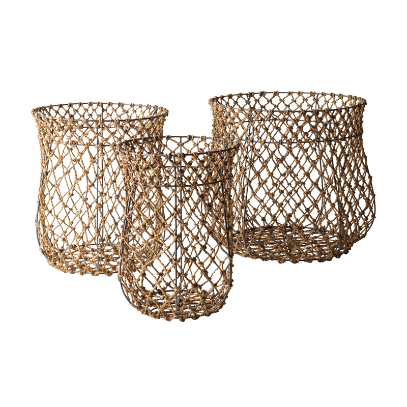 Nested Fisherman Rope Baskets-Set Of 3