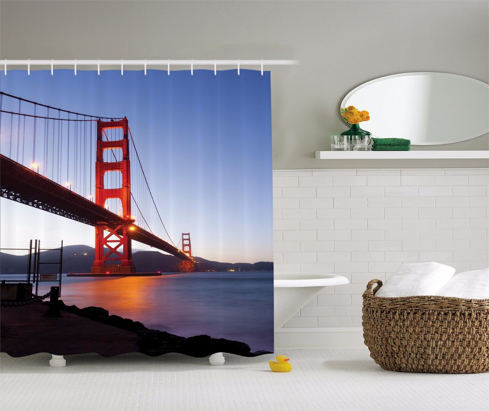 Golden Gate Bridge At Dusk In San Francisco Shower Curtain Extra Long 84 Inch
