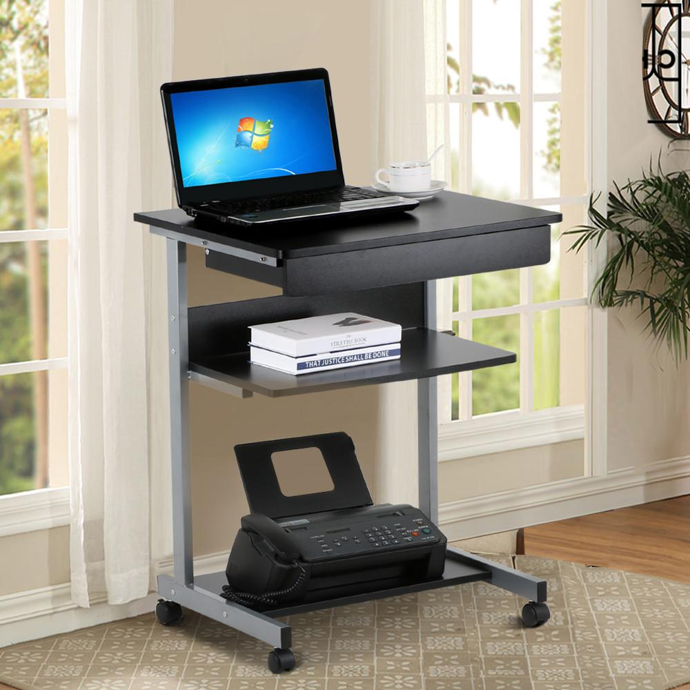 Yaheetech Black Wood Small Laptop Computer Cart Desk With Drawers And  Printer Shelf On Wheels