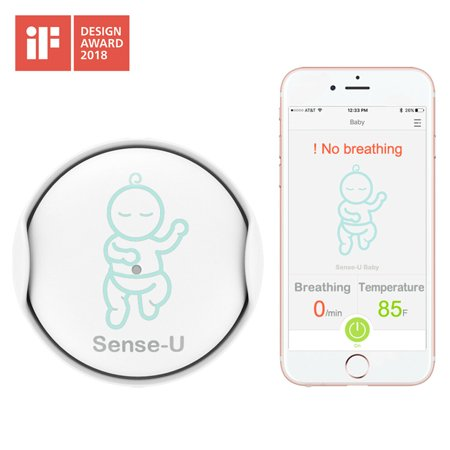 Sense-u Baby Breathing & Rollover Movement Monitor: Alerts You For No Breathing, Stomach Sleeping, Overheating & Getting Cold With Audible Alarm From Your Smartphone