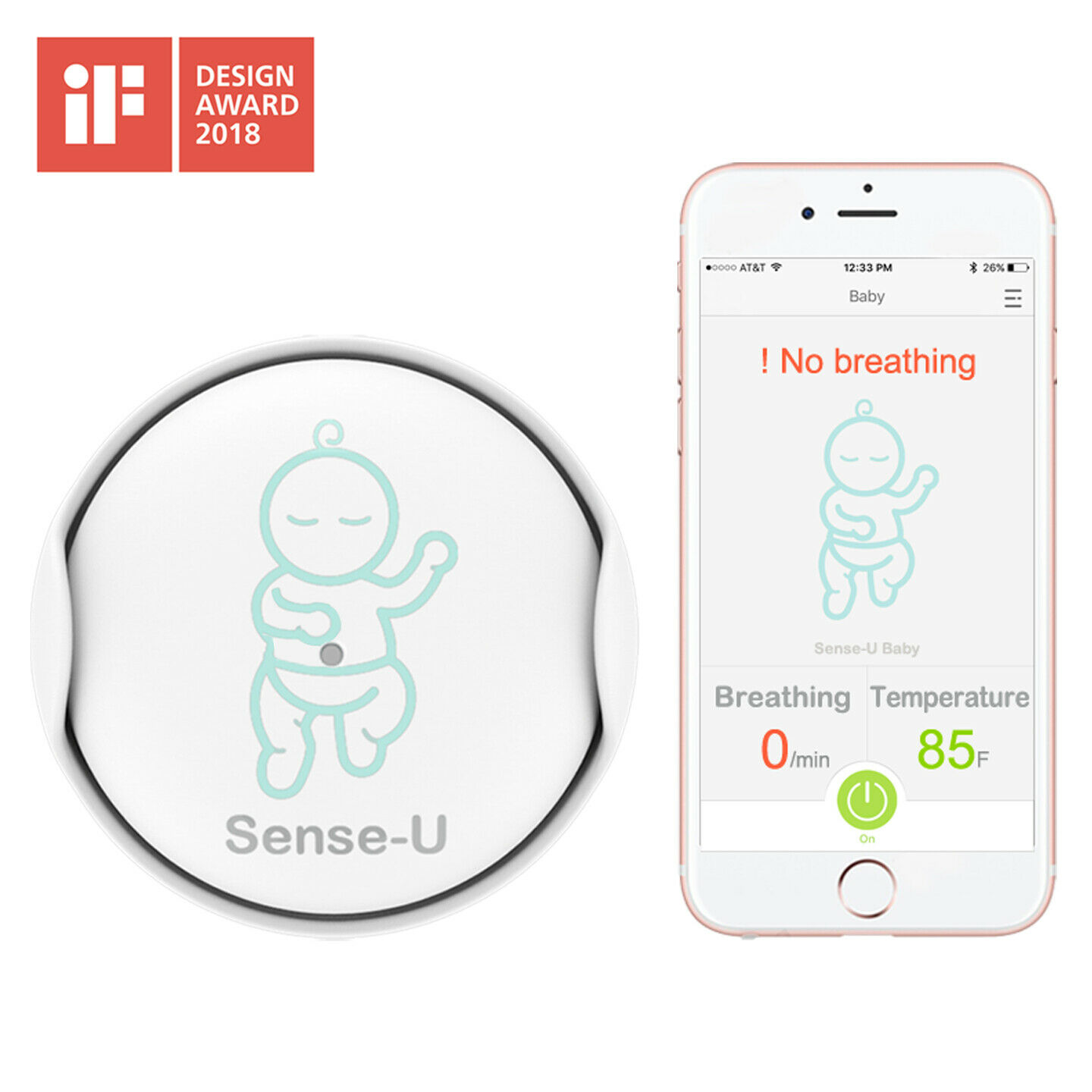 Sense-U Baby Breathing & Rollover Movement Monitor: Alerts You for No Breathing, Stomach Sleeping, Overheating and Getting Cold with Audible Alarm from Your Smartphone