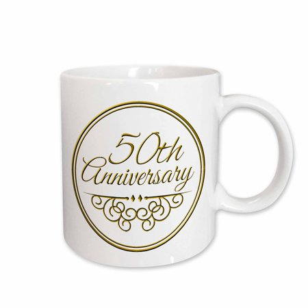 3dRose 50th Anniversary gift - gold text for celebrating wedding anniversaries - 50 years married together, Ceramic Mug, 11-ounce