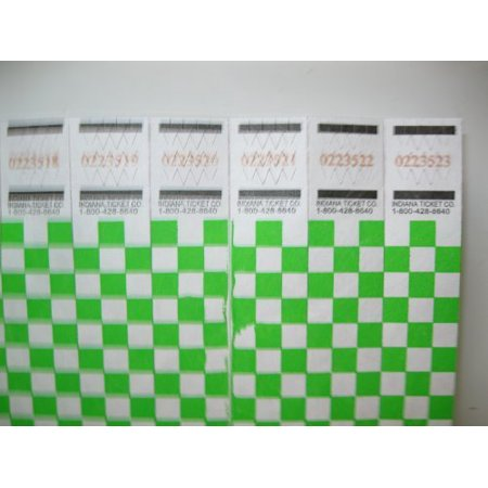 Neon Green Wristbands (50 Neon Green Checkered Consecutively Numbered Tyvek Wristbands 3/4 Inch, 50 Neon Green Checkered Consecutively Numbered Tyvek Wristbands 3/4 Inch By Unknown Ship from)