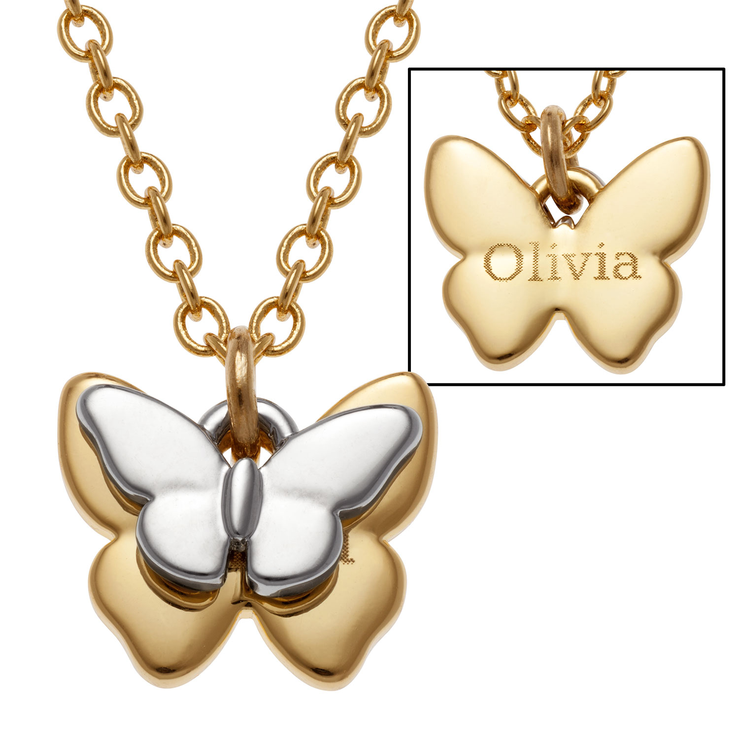 Family Jewelry Personalized Mother's Two-Tone Butterfly Name Necklace