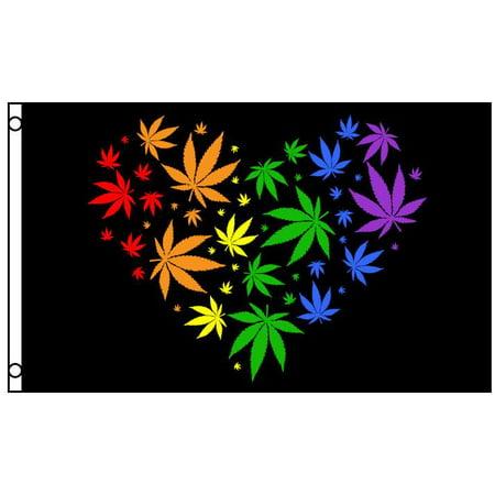 - Marijuana Leaf Rainbow Love Heart Polyester 3x5 Foot Flag Pot Banner Weed Hippie