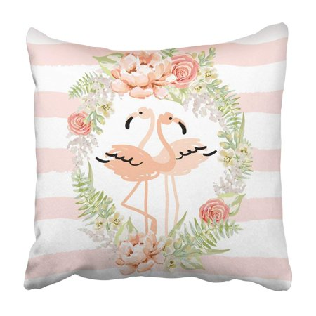 BPBOP Blush Pink Tropical Birds Flamingo In The Romantic Wreath Of Delicate Flowers Pillowcase 20x20 inch](Tropical Wreath)
