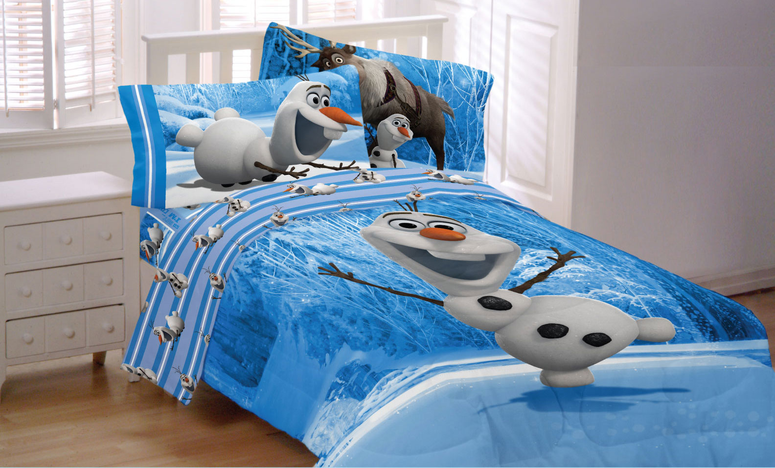 "disney frozen olaf ""made from snow"" bedding sheet set - walmart"
