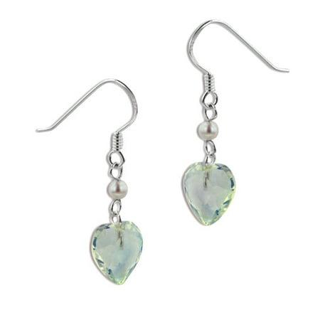 Aurora Borealis Crystal Heart and Pearl Bead Sterling Silver Hook Earrings